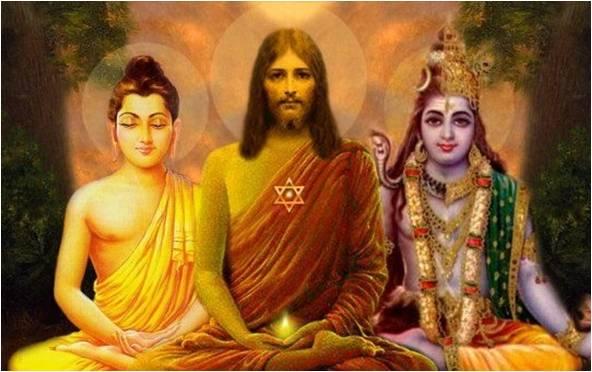 Iluminação Espiritual Jesus, Buda e Krishna
